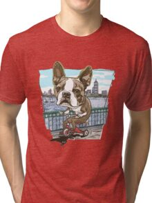 Boston Terrier Riding Red Tricycle Tri-blend T-Shirt