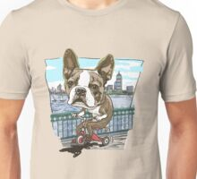 Boston Terrier Riding Red Tricycle Unisex T-Shirt