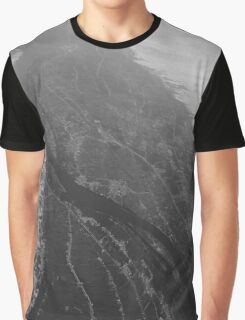 Egypt From Above - The Nile In Black and White Graphic T-Shirt