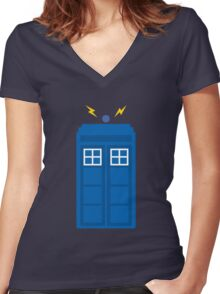 The Iconic TARDIS  Women's Fitted V-Neck T-Shirt
