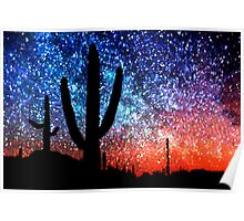Cacti and the Starry Night Sky Poster