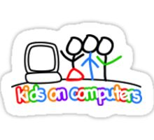 Kids On Computer Sticker Sticker