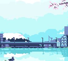 Pixel City: Japan Sticker