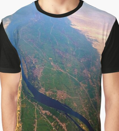 Egypt From Above - The Nile In Bright Color Graphic T-Shirt