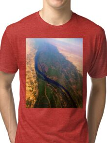 Egypt From Above - The Nile In Bright Color Tri-blend T-Shirt