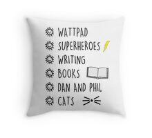 lists Throw Pillow