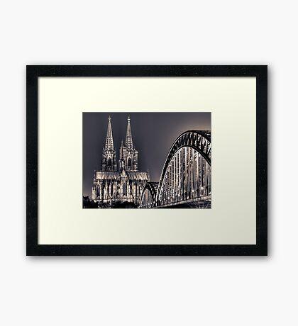 The Cologne cathedral split toned Framed Print