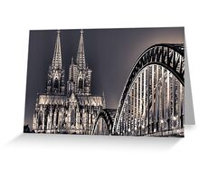 The Cologne cathedral split toned Greeting Card
