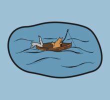 Fishing Boat Cats Kids Tee