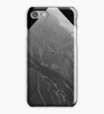 Egypt From Above - The Nile In Black and White - Framed iPhone Case/Skin