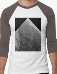 Egypt From Above - The Nile In Black and White - Framed Men's Baseball ¾ T-Shirt