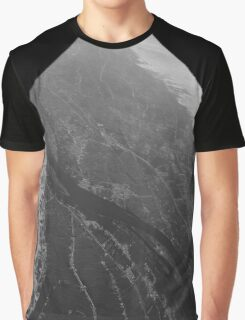 Egypt From Above - The Nile In Black and White - Framed Graphic T-Shirt