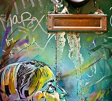Colourful young girl on a door down a lane by UniSoul