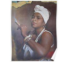 Cuban lady smoking a cigar Poster