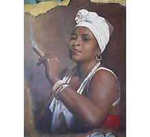 Cuban lady smoking a cigar Photographic Print