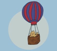 Hot Air Balloon Cat Kids Tee