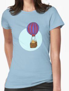 Hot Air Balloon Cat Womens Fitted T-Shirt