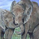Mother and baby Elephants by Stan  Brookfield
