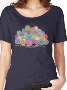 colorful crochet hooks balls of yarn Women's Relaxed Fit T-Shirt