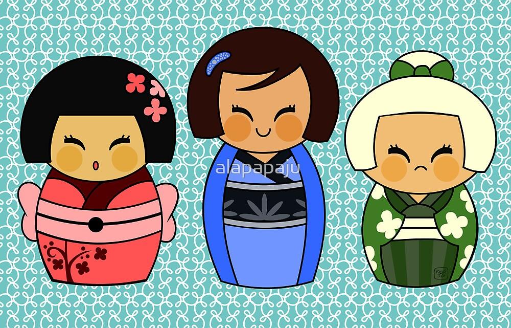 Kokeshis (Japanese dolls) by alapapaju