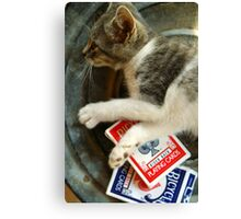 Card Playing Kitty Canvas Print