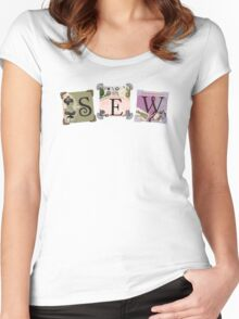 Shabby chic vintage sewing notions t-shirt Women's Fitted Scoop T-Shirt