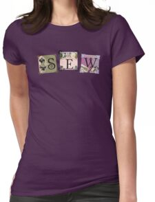 Shabby chic vintage sewing notions t-shirt Womens Fitted T-Shirt