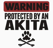 Warning Protected By An Akita One Piece - Short Sleeve