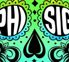 Phi Sig Sugar Skull Sticker