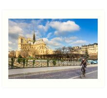 Seine Bike Ride - Notre Dame de Paris Art Print