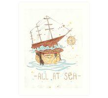 All at Sea - nautical sailing ship waves beach Art Print