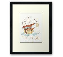 All at Sea - nautical sailing ship waves beach Framed Print