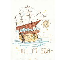 All at Sea - nautical sailing ship waves beach Photographic Print