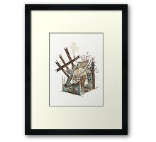Metal and Concrete - urban decay steel construction city  Framed Print