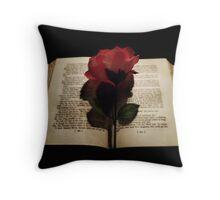 Rose on Book Throw Pillow