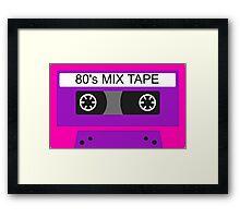 Neon 80s mix tape cassette Framed Print