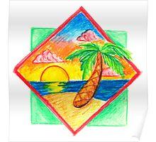 Miami Beach 80s Palm Tree Poster