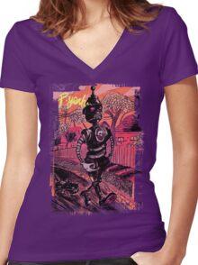 P-Yeah Robot Cat Walker  Women's Fitted V-Neck T-Shirt