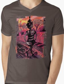 P-Yeah Robot Cat Walker  Mens V-Neck T-Shirt