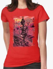 P-Yeah Robot Cat Walker  Womens Fitted T-Shirt