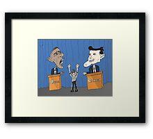 Obama Romney debate caricature Framed Print