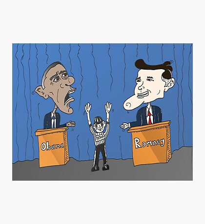 Obama Romney debate caricature Photographic Print