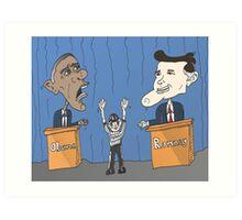 Obama et Romney débat en caricature Art Print