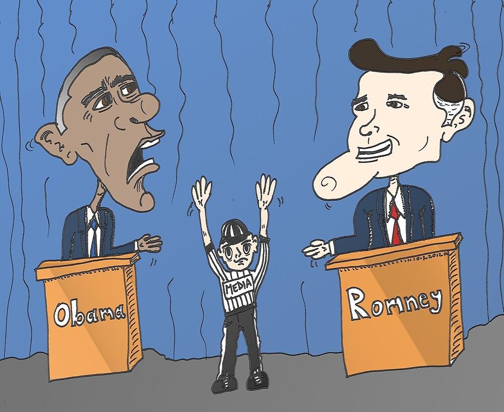 Obama et Romney débat en caricature by Binary-Options