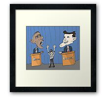 Obama et Romney débat en caricature Framed Print