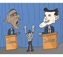 Obama et Romney débat en caricature Photographic Print