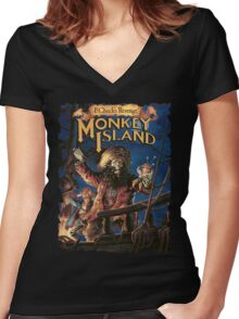 Monkey Island 2 Women's Fitted V-Neck T-Shirt