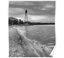 Water Tower Landmark - in Black and White Poster