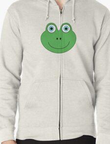 cute green frog face Zipped Hoodie