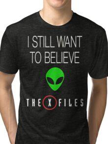 X-File Still Want To Believe Alien Head Tri-blend T-Shirt